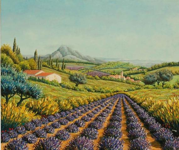 tableau peinture champ montagne provence maison