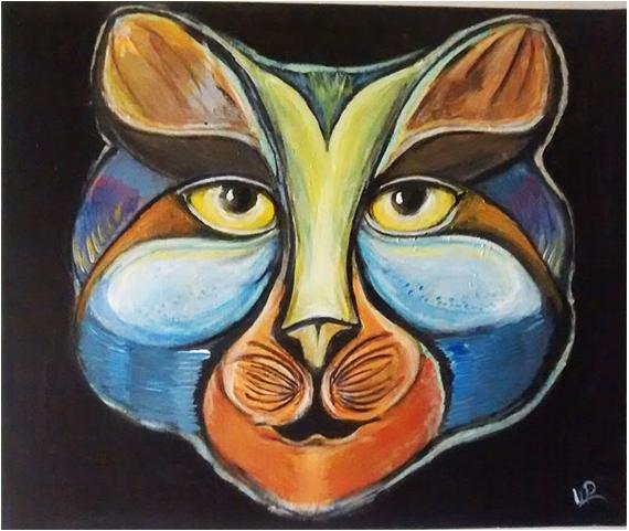 Tableau Peinture Chat Moderne Animal Monsieur Chat