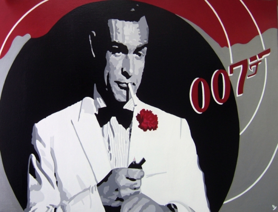 "TABLEAU PEINTURE CINEMA AGENT 007 JAMES BOND SEAN CONNERY Personnages Acrylique  - JAMES BOND "" SEAN CONNERY """