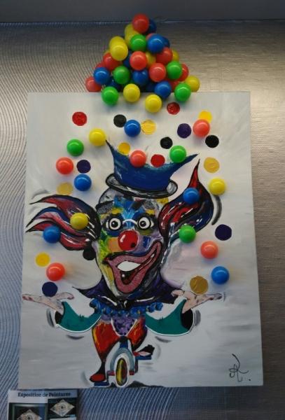 Tableau Peinture Cirque Clown Jongleur