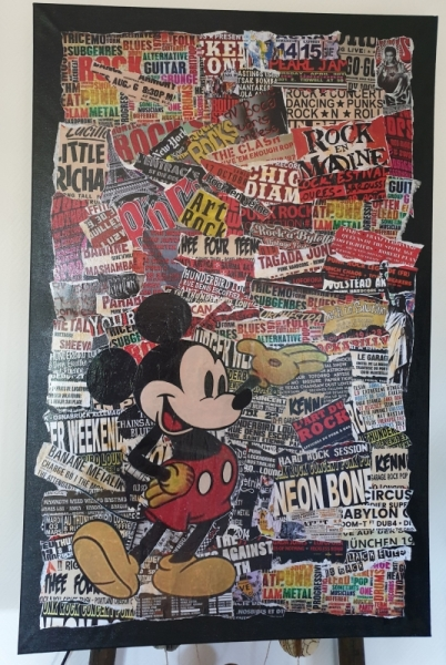 TABLEAU PEINTURE Collage Mickey Rock Collage  - Collage Grand Mickey