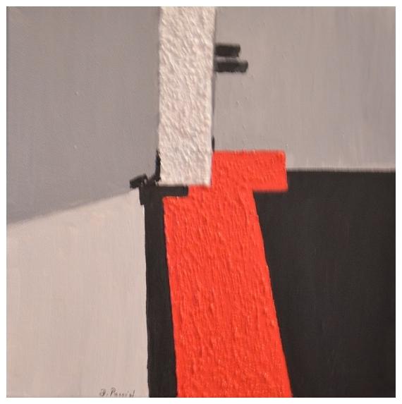 TABLEAU PEINTURE composition abstraite gris rouge ...