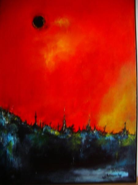 Tableau Peinture Contemporain Soleil Noir