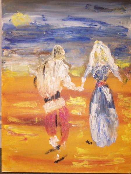 Bien-aimée TABLEAU PEINTURE contemporaine mariés peinture au couteau soleil &OX_72
