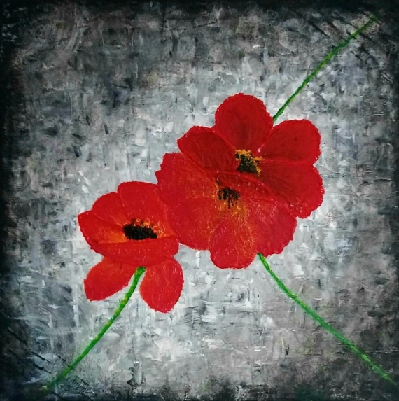 TABLEAU PEINTURE Coquelicot Rouge Gris Couteau Fleurs Acrylique  - Red red red