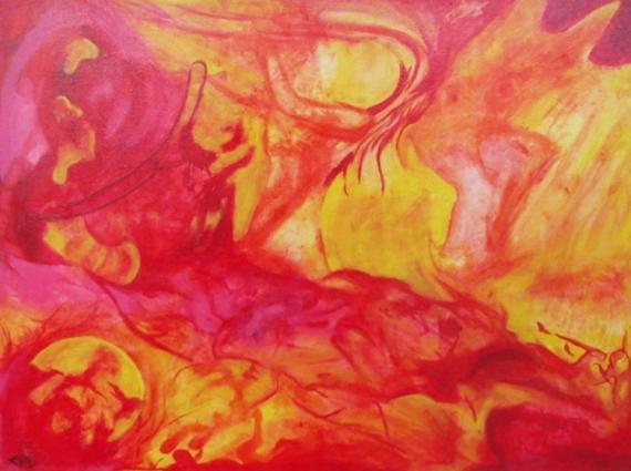 TABLEAU PEINTURE couleur chaude tigre femme - couleurs chaudes