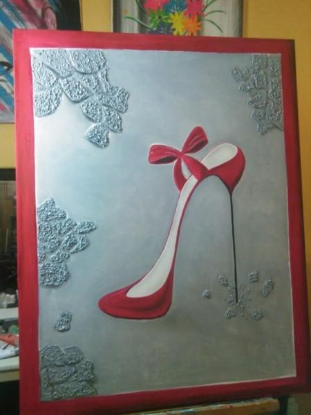 Soulier Rouge Cadeaux Déco Peinture Tableau Chaussure Couleurs 2YWE9IHD