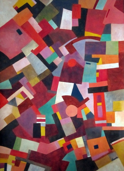 TABLEAU PEINTURE Couleurs Harmonie Suprematisme Geometrie Abstrait    Peinture Abstraite Entropie M2