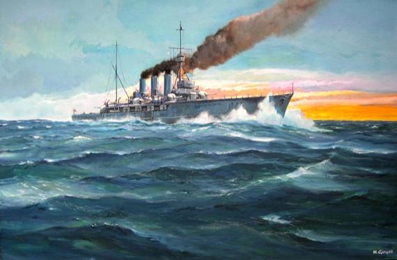 Tableau Peinture Croiseur Royal Navy 1ere Guerre Mondiale Marine Croiseur Anglais