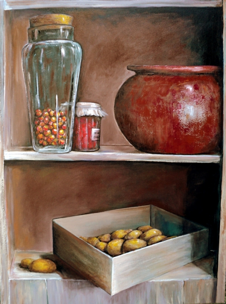 Tableaux Peinture Trompe Oeil tableau peinture cuisine trompe l oeil rouge - cuisine