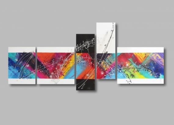 TABLEAU PEINTURE Design Coloré Xxl Bleu Abstrait Acrylique   Tableau XXL  Abstrait Coloré Arc En Ciel