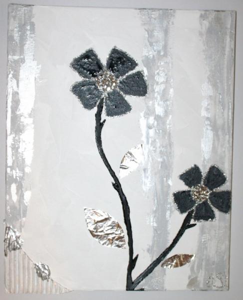 Tableau Peinture Design Fleur Relief Unique Fleur De Crystal