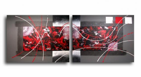 Merveilleux TABLEAU PEINTURE Design Rouge Gris Noir Abstrait Acrylique   Tableau  Diptyque Rouge Noir Gris Blanc Design