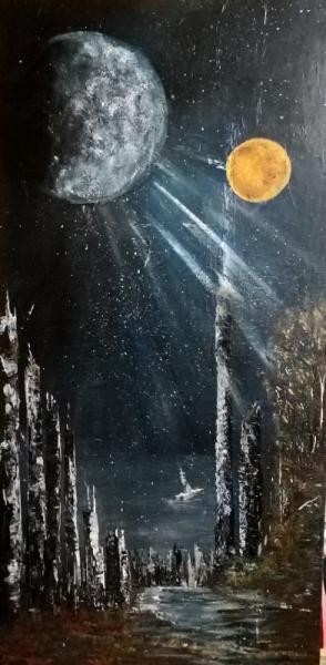 TABLEAU PEINTURE espace galaxie lune soleil - Reverse Galactica