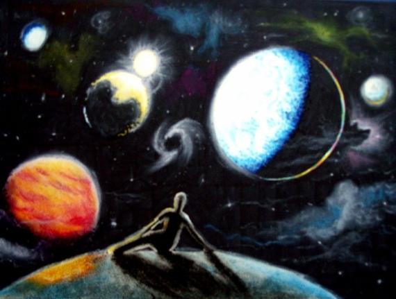 Tableau Peinture Espace Planete Univers Soleil Lost In Space