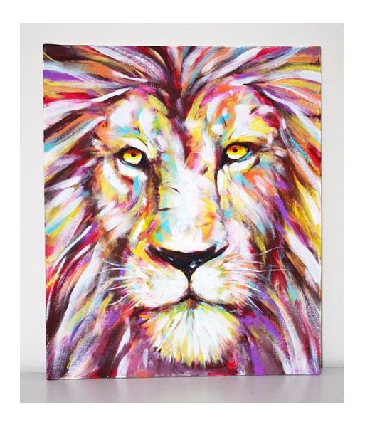 tableau peinture f lin afrique savane pop art lion pop art peinture acrylique sur carton entoil. Black Bedroom Furniture Sets. Home Design Ideas