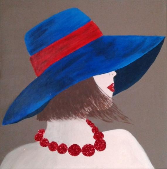 Tableau Peinture Femme Au Chapeau Femme Elegante Femme Dame Au Chapeau Femme Au Chapeau