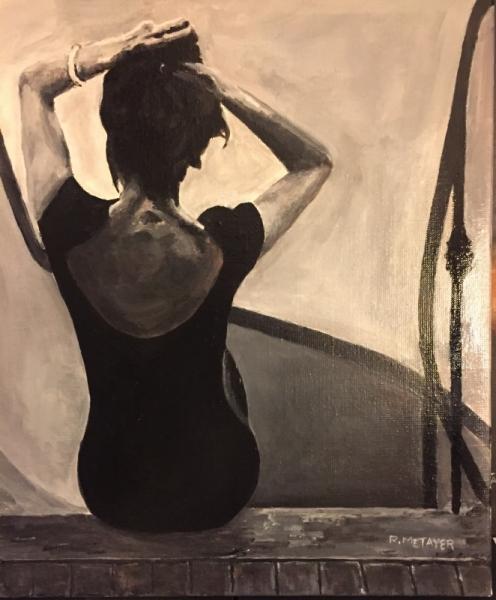 Tableau Peinture Femme Noir Blanc Dos Femme Assise Sur Le Palier N12