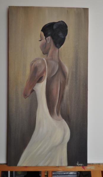 Tableau Peinture Femme Noire Afrique Dos Femme Dun Soir