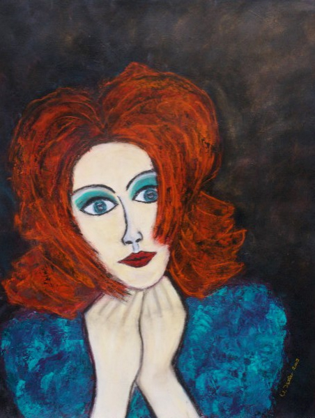 Tableau Peinture Femme Portrait La Rousse