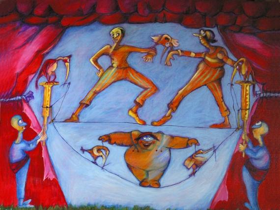 Tableau Peinture Fil équilibre Funambule Cirque Funambules
