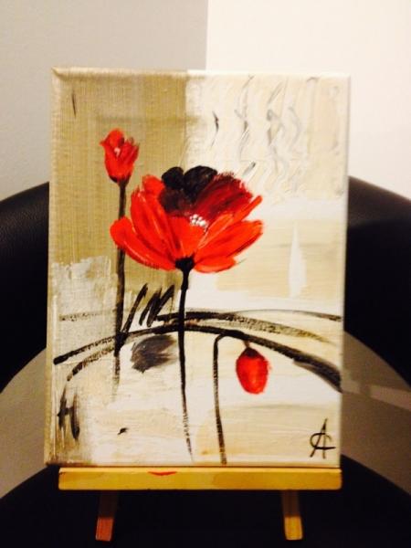 Tableau Peinture Fleur Contemporain Eclosion