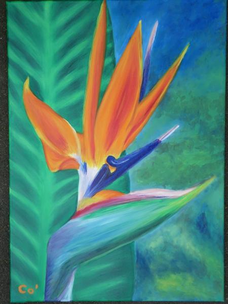 Tableau Peinture Fleur Exotique Oiseau De Paradis Strelizia 1er