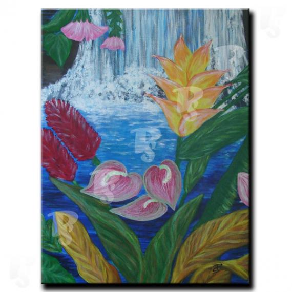 Tableau Peinture Fleur Cascade Et Bouquet Tropical