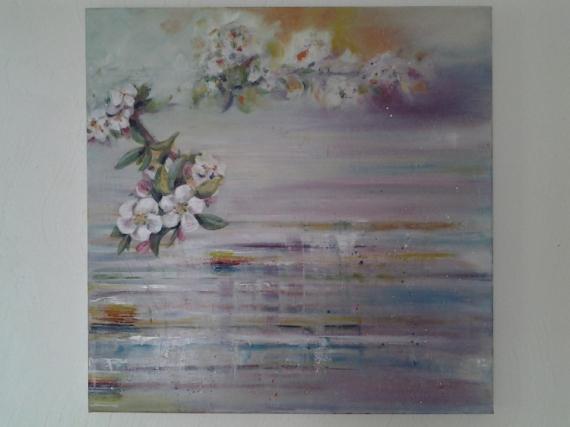 Tableau Peinture Fleur Reflets De Cerisier En Fleur