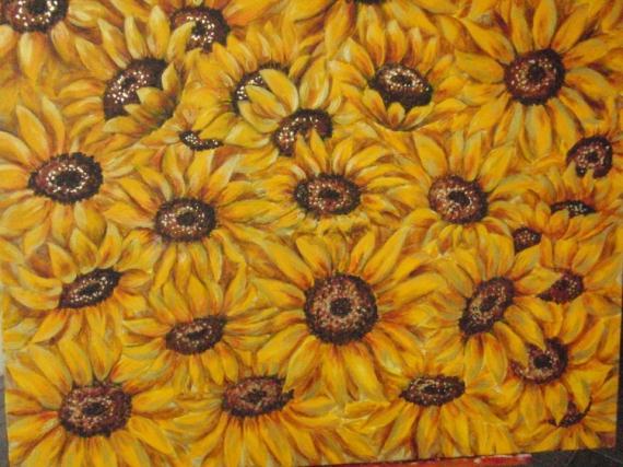Tableau Peinture Fleur Jaune Tournesol Soleils