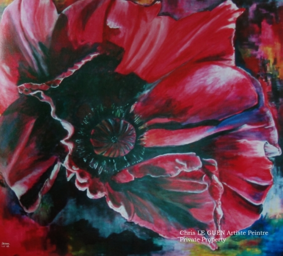 Tableau Peinture Fleur Peinture Toile Acrylique Primaire Xviii
