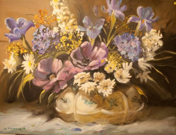 TABLEAU PEINTURE fleur vase bouquet mauve Fleurs Peinture a l\u0027huile ,  composition florale mauve