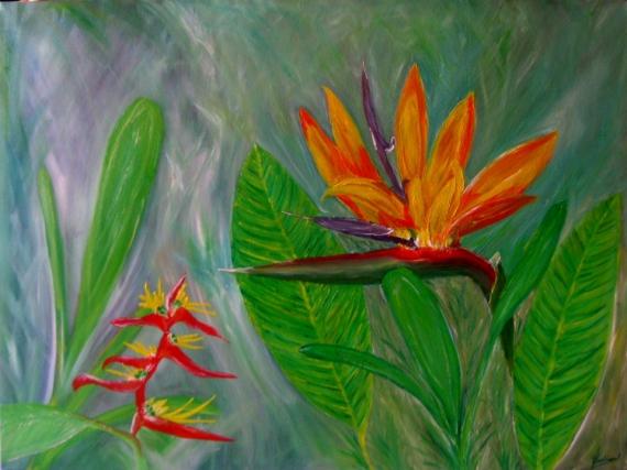 Tableau Peinture Fleures Tropicale Verte Nature Fleure Oiseau