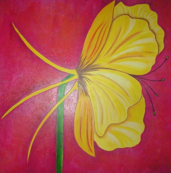 Tableau Peinture Fleurs Acrylique Tableau Decoration Esprit Florale