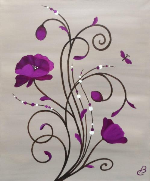 Tableau Peinture Fleurs Beiges Prunes Contemporain Fleurs Et