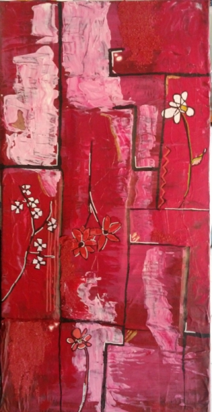 Tableau Peinture Fleurs Contemporain Rouge Rose Fleurs Printanniere