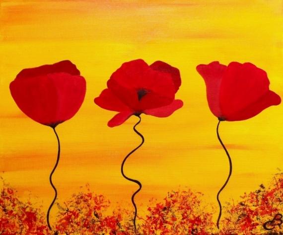 Tableau Peinture Fleurs Coquelicots Champêtre Déco Salon Promo