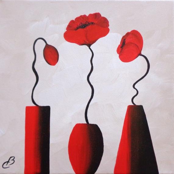 Tableau Peinture Fleurs Coquelicots Moderne Petit Prix Vases Et