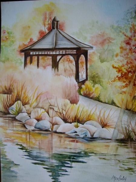 Tableau Peinture Fleurs Jardin Japonais Aquarelle Soleil Aquarelle