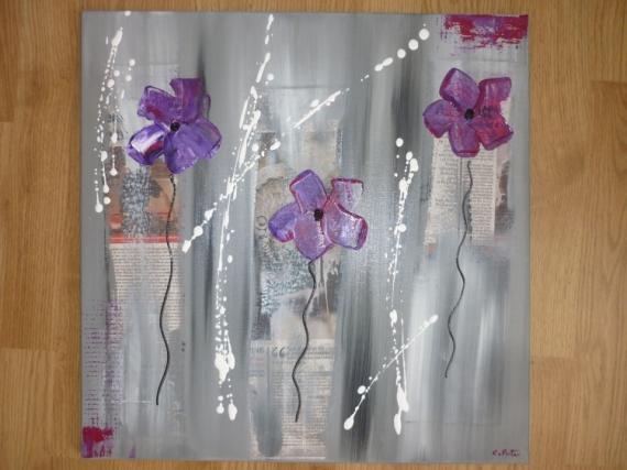 Tableau Peinture Fleurs Moderne Contemporain Violet Beau Fixe Vendu