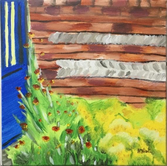 Tableau Peinture Fleurs Mur Bleu Entrez