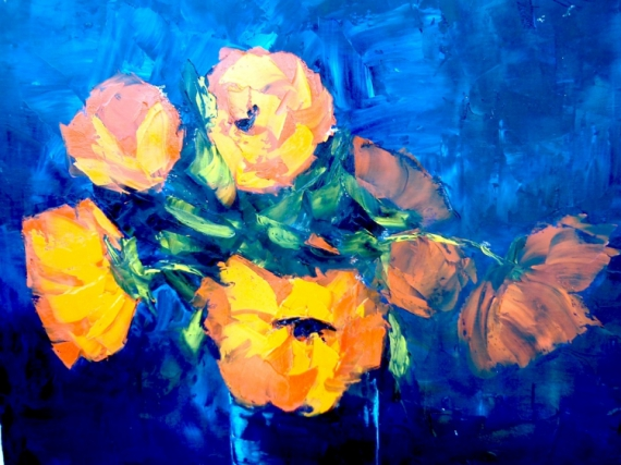 Image result for tableau peinture fleur orange