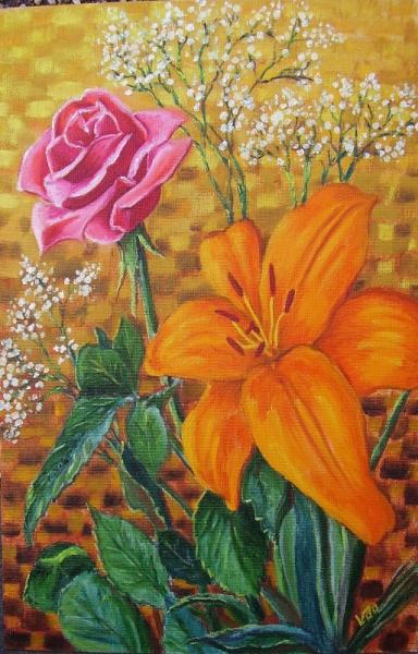 Tableau Peinture Fleurs Rose Lys Bouquet Lys