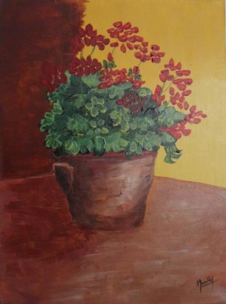 Tableau Peinture Geranium Fleur Toile Pot Le Geranium