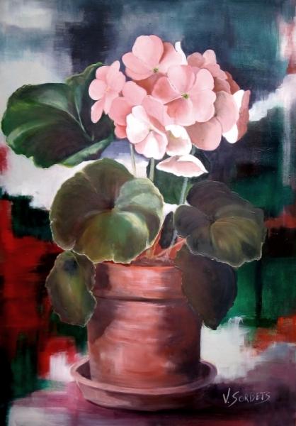 Tableau Peinture Geranium Fleurs Rose Pot Geranium