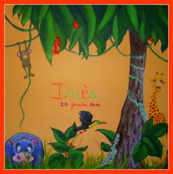 Tableau Peinture Girafe Hippopotame Jungle Deco Enfant N 1 Les
