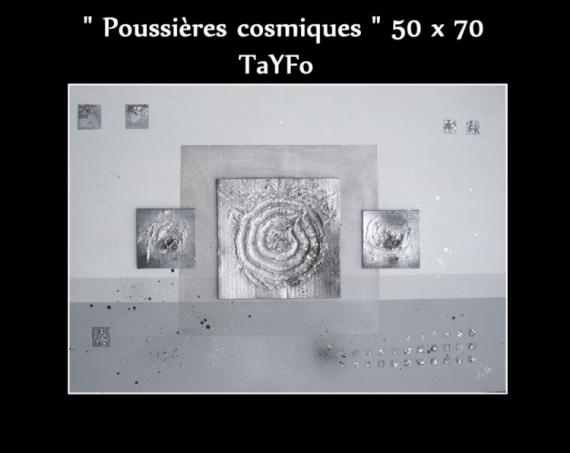 TABLEAU PEINTURE Gris Carré Argent Brillant Abstrait Acrylique   Poussières  Cosmiques