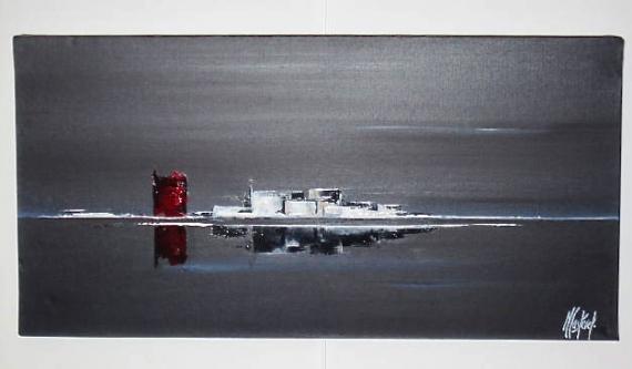 TABLEAU PEINTURE GRIS NOIR MER HORIZON Marine Peinture A Lu0027huile   LE POINT  ROUGE