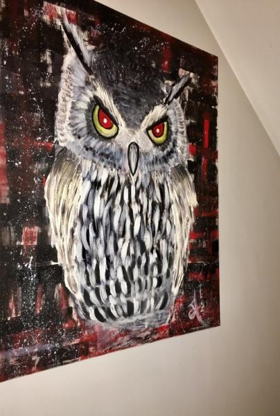 tableau peinture hibou