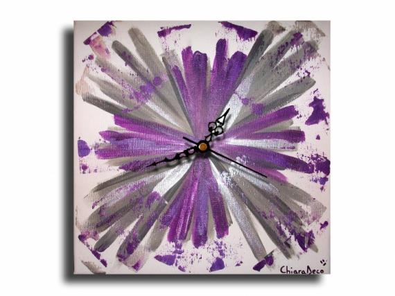 Tableau Peinture Horloge Pendule Violet Mauve Tableau Horloge